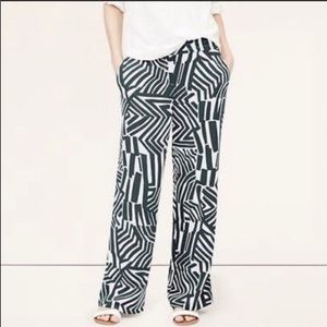 NWT Loft Gray & White zebra palazzo pants Large